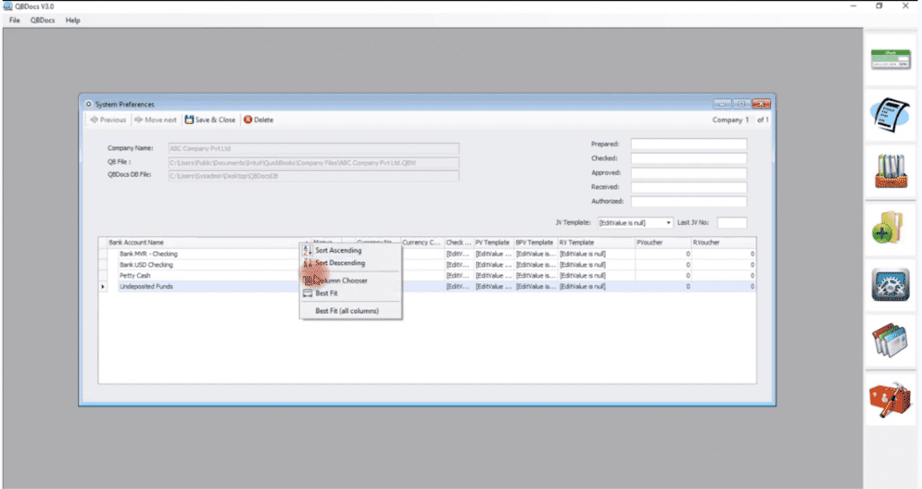 QBDocs Setup and Configuration
